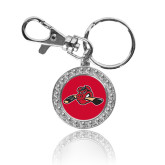 Crystal Studded Round Key Chain-Hammy w/ Hockey Stick