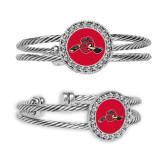 Crystal Studded Cable Cuff Bracelet with Round Pendant-Hammy w/ Hockey Stick