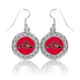 Crystal Studded Round Pendant Silver Dangle Earrings-Hammy w/ Hockey Stick