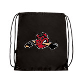 Black Drawstring Backpack-Hammy w/ Hockey Stick