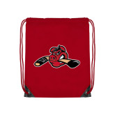 Red Drawstring Backpack-Hammy w/ Hockey Stick