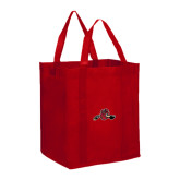 Non Woven Red Grocery Tote-Hammy w/ Hockey Stick