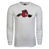 White Long Sleeve T Shirt-Hammy w/ Hockey Stick