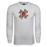 White Long Sleeve T Shirt-Autism Puzzle Piece