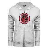ENZA Ladies White Fleece Full Zip Hoodie-Badge