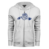 ENZA Ladies White Fleece Full Zip Hoodie-Hammy w/ Hockey Stick