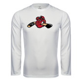 Performance White Longsleeve Shirt-Hammy w/ Hockey Stick