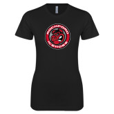 Next Level Ladies SoftStyle Junior Fitted Black Tee-Badge
