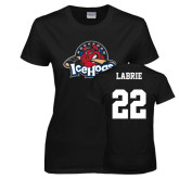 Ladies Black T Shirt-Primary Mark, Tee w/ Labrie and #22