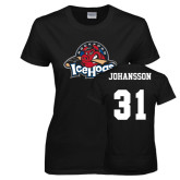 Ladies Black T Shirt-Primary Mark, Tee w/ Johansson and #31
