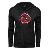 ENZA Ladies Black Fleece Full Zip Hoodie-Badge