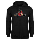 Black Fleece Full Zip Hoodie-Hammy w/ Hockey Stick