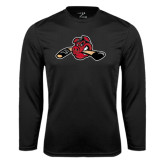 Performance Black Longsleeve Shirt-Hammy w/ Hockey Stick