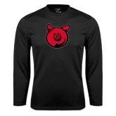 Performance Black Longsleeve Shirt-Pig Butt Logo