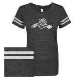 ENZA Ladies Black/White Vintage Triblend Football Tee-Hammy w/ Hockey Stick