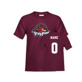Youth Maroon T Shirt-Primary Mark, Custom tee w/ Name and #