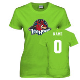 Ladies Lime Green T Shirt-Primary Mark, Custom tee w/ Name and #