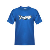 Youth Royal T Shirt-IceHogs Wordmark