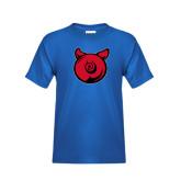Youth Royal T Shirt-Pig Butt Logo