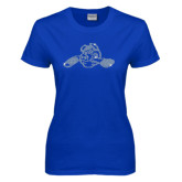 Ladies Royal T Shirt-Hammy w/ Hockey Stick Crystal Rhinestone