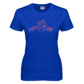 Ladies Royal T Shirt-Hammy w/ Hockey Stick Fuchsia Rhinestone