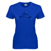 Ladies Royal T Shirt-Hammy w/ Hockey Stick Royal Rhinestone