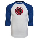 White/Royal Raglan Baseball T Shirt-Badge