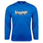 Syntrel Performance Royal Longsleeve Shirt-IceHogs Wordmark