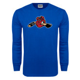 Royal Long Sleeve T Shirt-Hammy w/ Hockey Stick