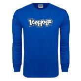 Royal Long Sleeve T Shirt-IceHogs Wordmark