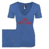 Next Level Ladies Vintage Royal Tri Blend V-Neck Tee-Hammy w/ Hockey Stick