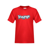 Youth Red T Shirt-IceHogs Wordmark