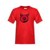 Youth Red T Shirt-Pig Butt Logo