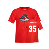Youth Red T Shirt-Primary Mark, Tee w/ Carruth and #35