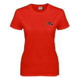 Ladies Red T Shirt-Hammy w/ Hockey Stick