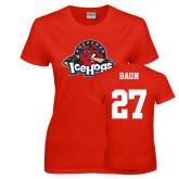 Ladies Red T Shirt-Primary Mark, Custom tee w/ Baun and 27