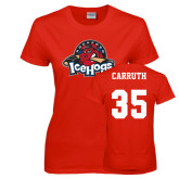 Ladies Red T Shirt-Primary Mark, Custom tee w/ Carruth and 35