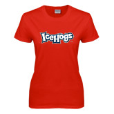 Ladies Red T Shirt-IceHogs Wordmark