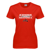 Ladies Red T Shirt-Hockey Bar Design