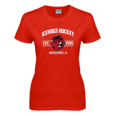 Ladies Red T Shirt-Arched Est Year