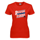 Ladies Red T Shirt-Slanted Design