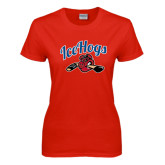 Ladies Red T Shirt-Scripted IceHogs