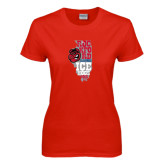 Ladies Red T Shirt-State Stacked
