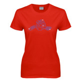 Ladies Red T Shirt-Hammy w/ Hockey Stick Fuchsia Rhinestone