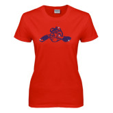 Ladies Red T Shirt-Hammy w/ Hockey Stick Royal Rhinestone