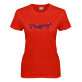 Ladies Red T Shirt-Icehogs Wordmark Royal Rhinestone