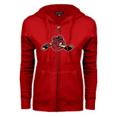 ENZA Ladies Red Fleece Full Zip Hoodie-Hammy w/ Hockey Stick