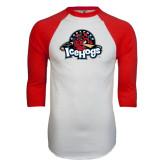 White/Red Raglan Baseball T-Shirt-Primary Mark