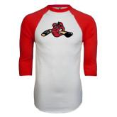 White/Red Raglan Baseball T-Shirt-Hammy w/ Hockey Stick