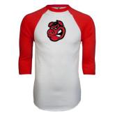 White/Red Raglan Baseball T-Shirt-Hammy Head